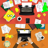 Ilustrações de máquinas de escrever retros Conceitos de Fotos de Stock