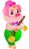 Ilustrações de riso do porco dos desenhos animados pequenos cor-de-rosa bonitos pequenos Fotografia de Stock Royalty Free
