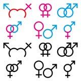 Ilustrações de símbolos de sexo masculino e fêmea Imagens de Stock