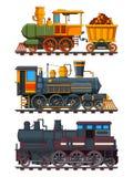 Ilustrações de trens retros com vagões ilustração do vetor