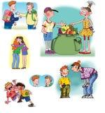 Ilustrações desenhadas mão sobre relações dos povos Foto de Stock