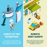 Ilustrações do conceito com os vários robôs assistentes ilustração royalty free