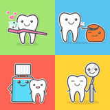 Ilustrações do cuidado e da higiene dos dentes dos desenhos animados ilustração royalty free