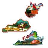 Ilustrações do estado de Kentucky West Virginia e de Virgínia Fotos de Stock Royalty Free