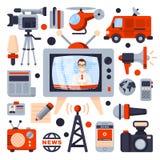 Ilustrações do grupo liso do ícone Fotografia de Stock Royalty Free