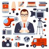 Ilustrações do grupo liso do ícone Fotos de Stock Royalty Free