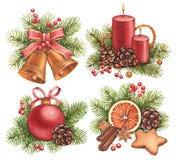 Ilustrações do Natal da aquarela Imagem de Stock
