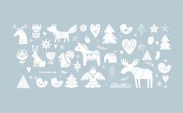 Ilustrações do Natal, elementos tirados mão do projeto da bandeira no estilo escandinavo ilustração stock