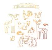 Ilustrações do vetor de animais da floresta Foto de Stock