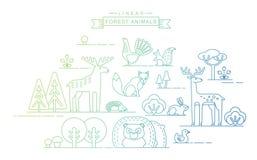 Ilustrações do vetor de animais da floresta Fotos de Stock