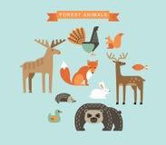 Ilustrações do vetor de animais da floresta Imagens de Stock