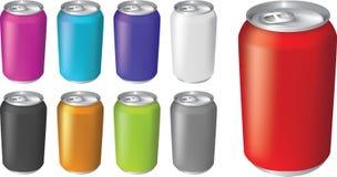 Ilustrações do vetor de latas de soda efervescentes da bebida Imagens de Stock Royalty Free