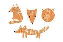 Ilustrações do vetor de raposas bonitos, coleção dos animais do berçário da floresta ilustração royalty free