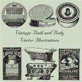 Ilustrações do vetor do banho e do corpo do vintage Imagens de Stock Royalty Free