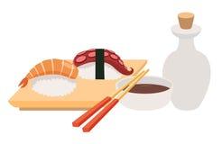 Ilustrações do vetor do Sashimi e do hashi Vetor do molho do sushi e de soja Marisco, faixa de peixes Imagem de Stock