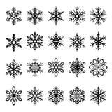 Ilustrações dos flocos de neve do vetor ajustadas ilustração stock