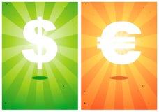 Ilustrações dos sinais o dólar e o euro Fotografia de Stock Royalty Free