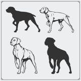 Ilustrações e silhuetas dos cães Projeto preto e branco Imagens de Stock Royalty Free