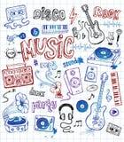 Ilustrações esboçado da música Imagens de Stock Royalty Free