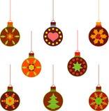 Ilustrações isoladas do ornamento da árvore de Christams Imagens de Stock