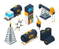 Ilustrações isométricas da indústria 3d da refinação de petróleo e gás ilustração do vetor
