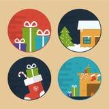 Ilustrações lisas da cena do Natal do vetor imagens de stock royalty free