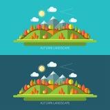 Ilustrações lisas da paisagem da natureza do outono do projeto Imagens de Stock Royalty Free