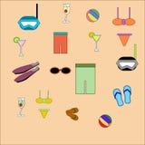 Ilustrações lisas da praia Imagens de Stock