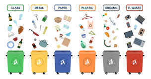 Ilustrações lisas do vetor das latas de lixo Fotos de Stock