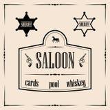 Ilustrações relacionadas ocidentais selvagens - o sinal do bar com xerife stars Foto de Stock Royalty Free