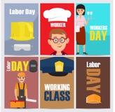 Ilustrações temáticos do Dia do Trabalhador internacional ajustadas ilustração royalty free