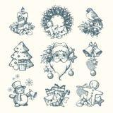 Ilustrações tiradas do Natal do vetor mão ajustada Fotos de Stock Royalty Free