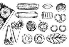 Ilustrações tiradas mão do vetor Opinião superior das pastelarias Coza a loja ilustração do vetor
