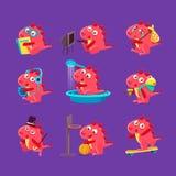 Ilustrações vermelhas de Dragon Everyday Activities Set Of ilustração do vetor