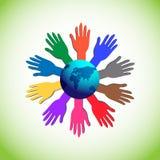 Ilustra o conceito do apoio, da caridade, da unidade e da força voluntários Imagem de Stock