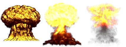 ilustra??o 3D da explos?o - explos?o diferente altamente detalhada grande do cogumelo at?mico de 3 fases da bomba nuclear com fum ilustração do vetor