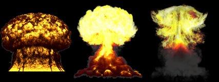 ilustra??o 3D da explos?o - explos?o diferente detalhada do cogumelo at?mico de 3 fases muito da eleva??o enorme da bomba nuclear ilustração royalty free
