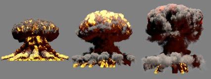 ilustra??o 3D da explos?o - explos?o diferente grande do cogumelo at?mico do fogo de 3 fases da bomba de fus?o com fumo e da cham ilustração royalty free