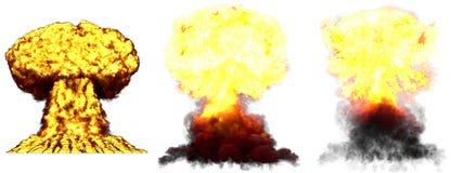 ilustra??o 3D da explos?o - explos?o diferente muito detalhada do cogumelo at?mico de 3 grande fases da bomba nuclear com fumo e  ilustração royalty free