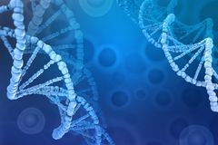 ilustra??o 3D de uma mol?cula do ADN Investiga??o da estrutura celular ilustração royalty free