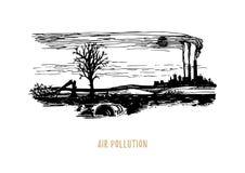 Ilustra??o da polui??o do ar Esboço do tema do ambiente da contaminação no vetor Desenho da paisagem industrial poluída ilustração stock