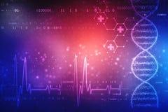 Ilustra??o de Digitas da estrutura do ADN, fundo m?dico abstrato imagens de stock