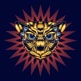 Ilustra??o de uma cabe?a do gato com ouro e azul e um fundo decorativo atrativo e original ilustração do vetor