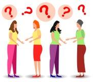 A ilustra??o do conceito dos povos fez frequentemente as perguntas, esperando para ser respondido, resposta ? met?fora do ilustração royalty free