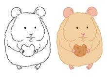 Ilustra??o do hamster pequeno bonito com a cookie no fundo branco Imagem tirada mão do vetor do hamster estando para colorir ilustração stock