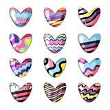 Ilustra??o do vetor Ajuste dos corações bonitos pintados nas cores do arco-íris isoladas no fundo branco ilustração stock