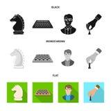 Ilustra??o do vetor do checkmate e do ?cone fino Ajuste do s?mbolo de a??es do checkmate e do alvo para a Web ilustração stock
