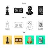 Ilustra??o do vetor do checkmate e do ?cone fino Ajuste do s?mbolo de a??es do checkmate e do alvo para a Web ilustração do vetor