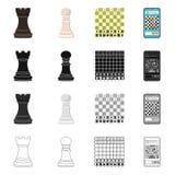 Ilustra??o do vetor do checkmate e do ?cone fino Cole??o do s?mbolo de a??es do checkmate e do alvo para a Web ilustração do vetor