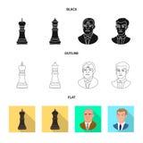 Ilustra??o do vetor do checkmate e do ?cone fino Cole??o do s?mbolo de a??es do checkmate e do alvo para a Web ilustração royalty free